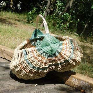 Farmářský košík z pedigu a elharu - zelenohnědý