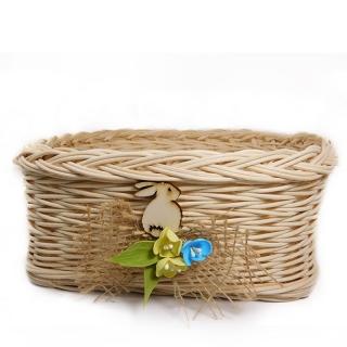 Čtverhranný proutěný košíček - Zajíček na jaře