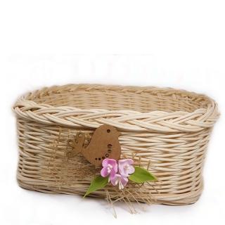 Proutěný košíček z pedigu s ptáčkem a kvítky