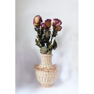 Váza Amfora - Ježek se sušenými květy růží (nejsou součástí výrobku)