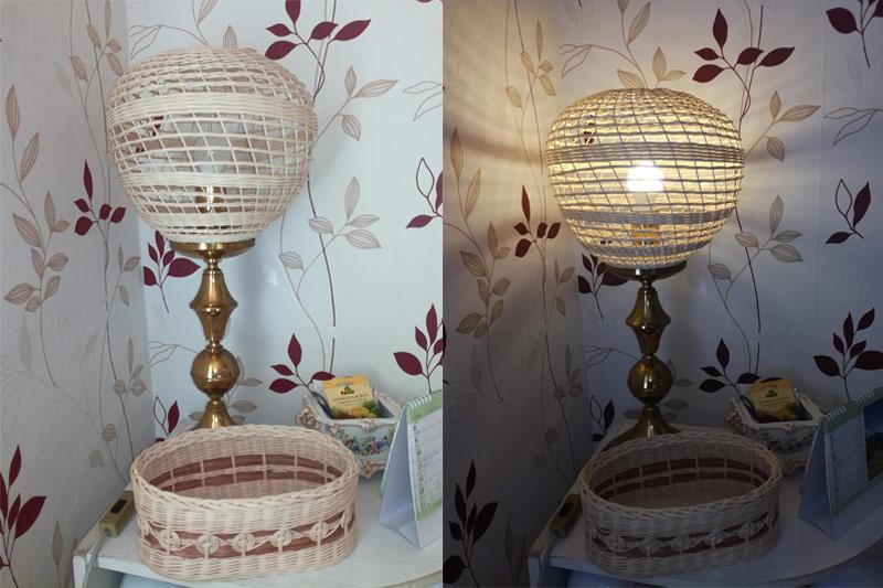 Proutěné stínidlo na stolní lampu - na zakázku